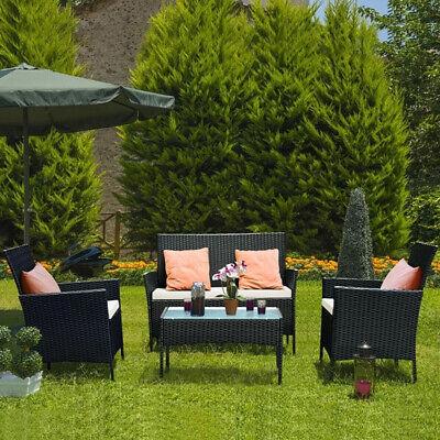 Garden Furniture - RATTAN GARDEN FURNITURE SET 4 PIECE CHAIRS SOFA TABLE OUTDOOR PATIO SET