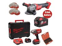 """Milwaukee M18ONEFHIWF12 ONE KEY Fuel 1/2"""" Impact Wrench Kit+M18CAG115 Angle Grinder + 9.0Ah Battery"""