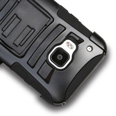 For HTC One M9 Hybrid Armor Rugged Belt Clip Holster Kickstand Case Cover ()