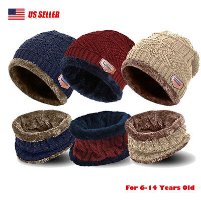 Girls Hat Set (Winter Boys Girls Hat And Scarf Set Kids Children Knit Warm Beanie Cap Xmas)