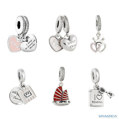 Crowned Heart Best Friends  I Love Reading Dangle Charm Authentic Silver Bead](Love Reading)