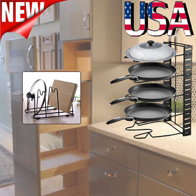 Kitchen Cabinet Pan and Pot Lid Organizer Rack Storage Holder Accessories Iron