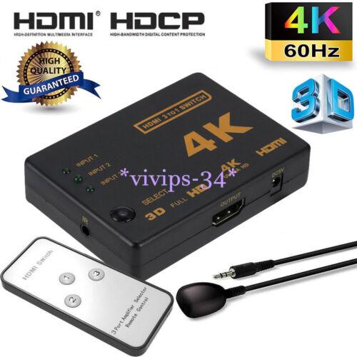 3 in 1 HDMI Splitter Switch Adapter Umschalter Verteiler 4K Ultra HD HDCP 3D HDR