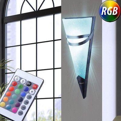 RGB LED Antik Wand Lampe rost Fernbedienung Glas Fackel Dielen Leuchte dimmbar