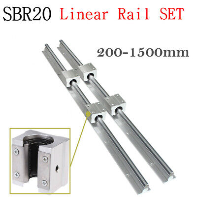 2x Sbr20 200-2000mm Linear Rail Guide Fully Supported 4x Sbr20uu Block Bearing
