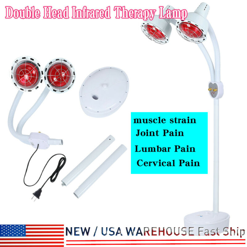 Floor Stand Infrared Heating Therapy Lamp Dual Head Lumbar Cervical Pain Therapy