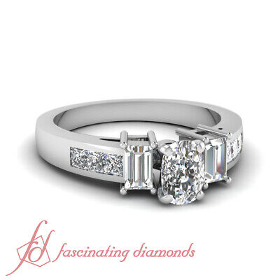 1.70 Ct Cushion Cut Diamond Modern Fit Engagement Ring Channel Set 14K SI1 GIA