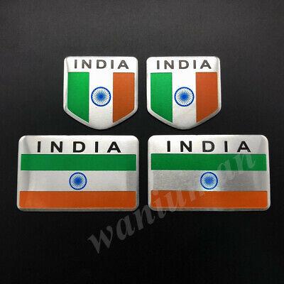 4pcs Metal India Indian Flag Car Emblem Badge Motorcycle Gas Tank Sticker Decals