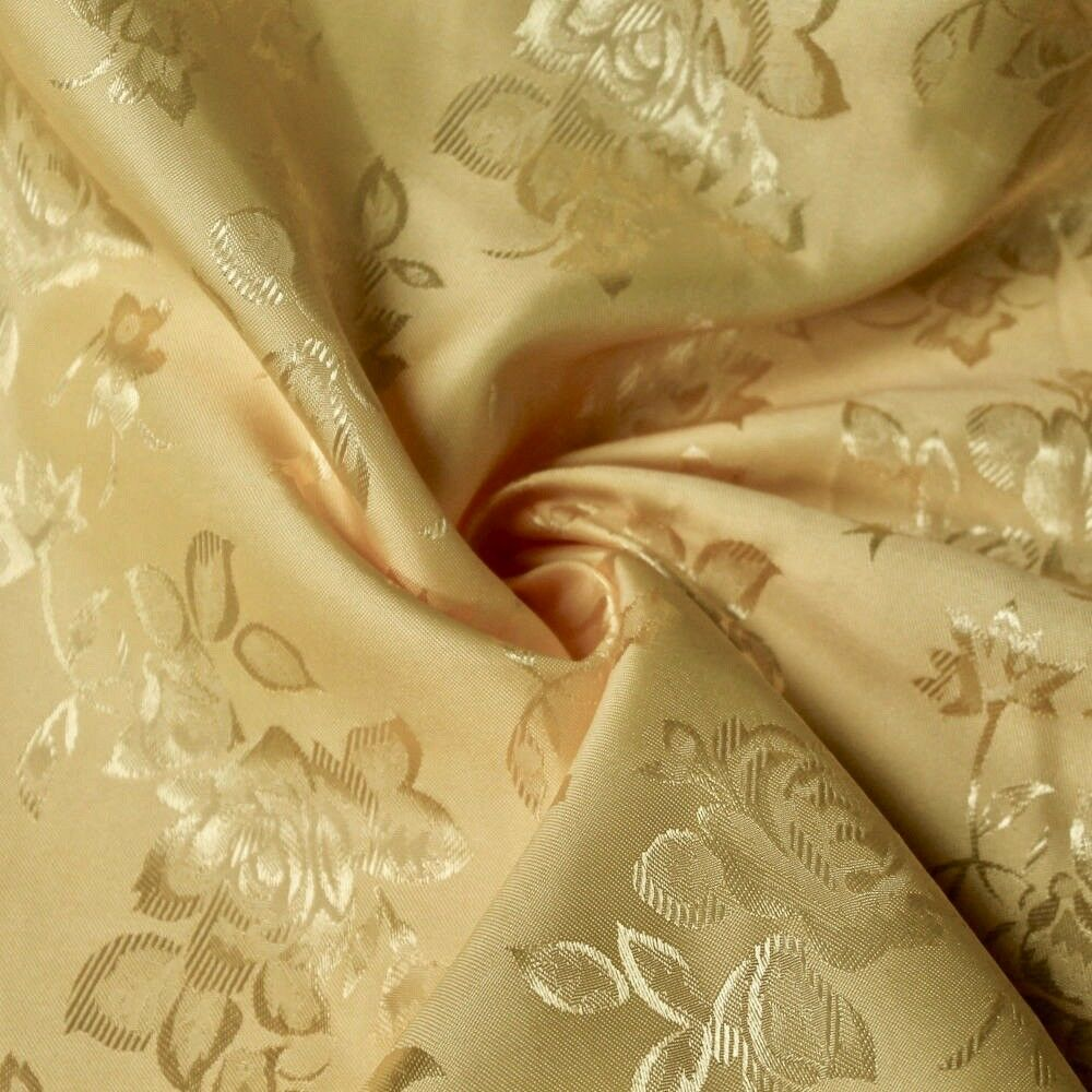 34 Colors Kayla Floral Jacquard Brocade Satin Fabric by the Yard - 10004 Gold