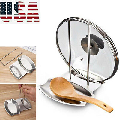 - Stainless Steel Pan Pot Lid and Spoon Rest Rack Organizer Storage Stand Holder
