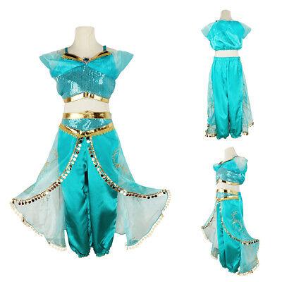 Halloween Kids Girls Aladdin Princess Jasmine Dress Cosplay Costume Fancy Dress