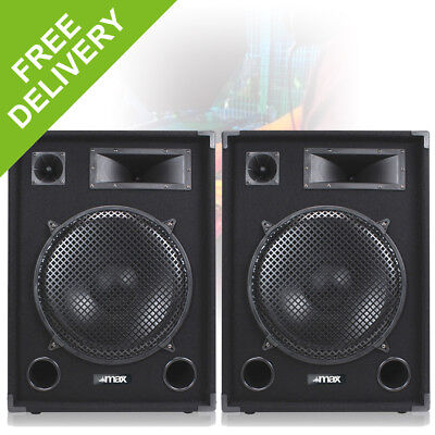 "Pair MAX 15"" DJ PA DISCO PARTY BAND Mega LOUD BASS 2000w Peak Speakers"