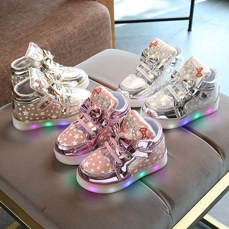 Toddler Kids Luminous Sneakers Baby Girl Leather Lighted Cri