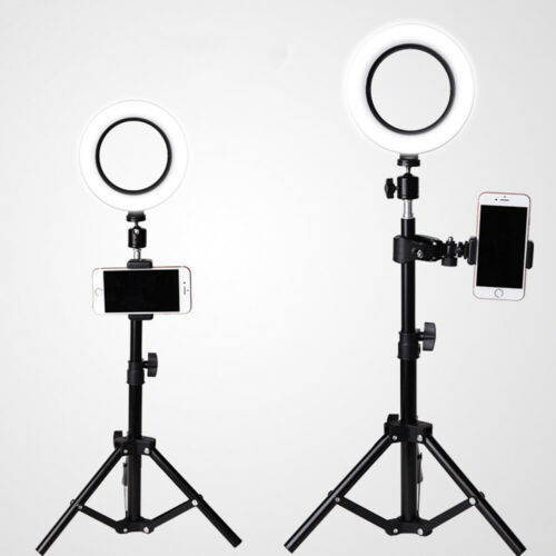 LED Ring Light Photo Video Dimmable Lamp Tripod Stand Camera + Selfie Phone Clip