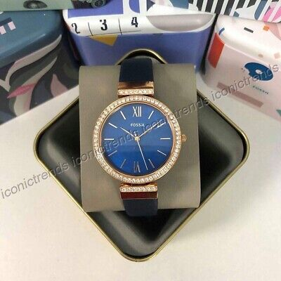 NWT🌹 Fossil ES4538 Madeline Three-Hand Mother of Pearl Dial Navy Leather Watch