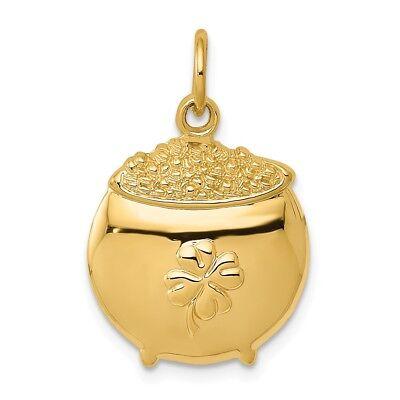 14K Yellow Gold Polished Irish 4-Leaf Clover Pot of Gold Charm Beautiful Pendant