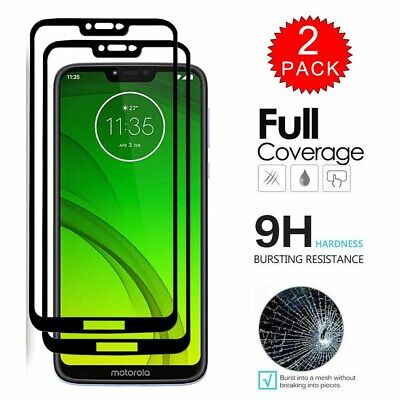 2x For Motorola Moto G7 Power /Supra FULL COVER Tempered Glass Screen Protector Flat Tempered Glass