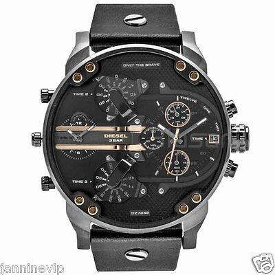 Diesel Original DZ7348 Mr Daddy 2.0 Black Leather Strap Chronograph Watch 57mm