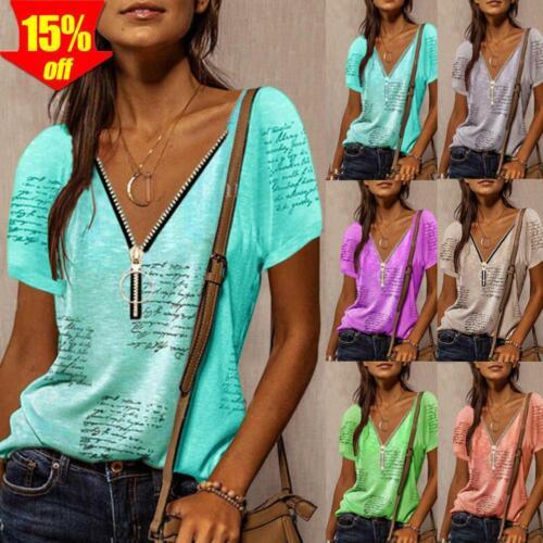 Damen Casual T-Shirt Kurzarm Bluse Shirt Hemd Freizeit Oberteile Sommer Tunika