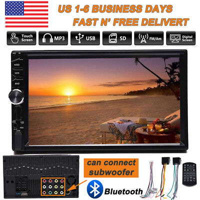 """Bluetooth MP5 FM AM Player Car Stereo Radio 2 DIN 7"""" HD Touch Screen Video MP3"""