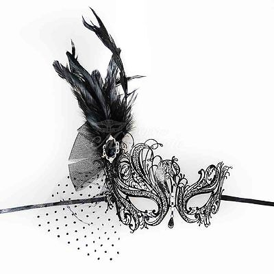 Swan Metal Venetian Masquerade Mask with Feathers for Women M7139 - Masquerade Mask With Feathers