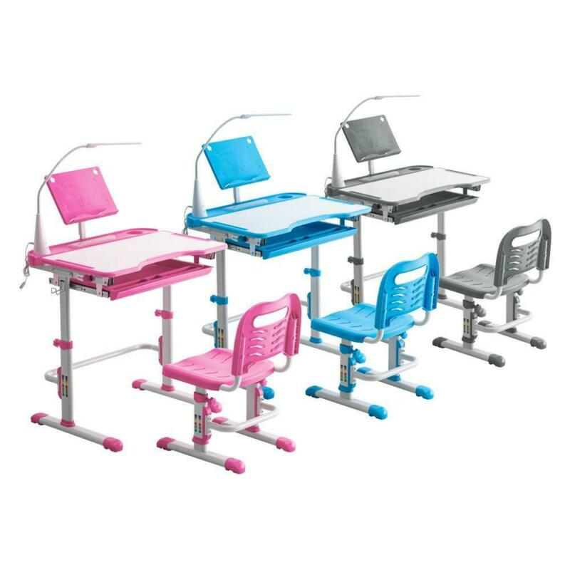 3 Colors Student Desk and Chair Set Adjustable Child Study with Lamp Furniture