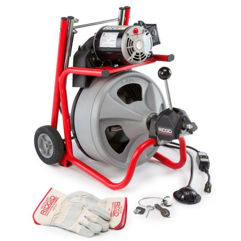 RIDGID Drain Cleaning Drum Machine 115-Volt K-400AF AUTOFEED Cable Steel Frame