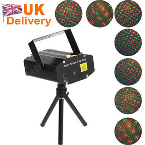 Black Mini AC 110-240V Red & Green Moving Party Stage Laser Light Projector UK