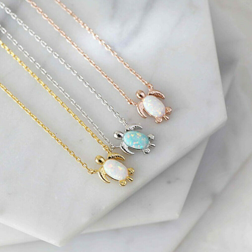 Jewellery - Tiny Sea Turtle Opal Pendant Rose Gold Silver Animal Necklace Women Jewelry Gift