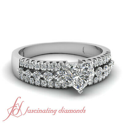 1 Carat Heart Shaped Diamond Wide Shank Ring With Round Accents In Platinum GIA