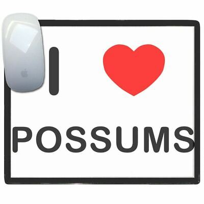 I Love Heart Possums - Thin Pictoral Plastic Mouse Pad Mat Badgebeast
