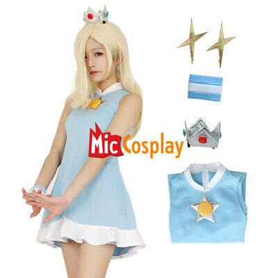 Mario Tennis Rosalina Cosplay Costume Dress with Crown](Rosalina Halloween Costume)