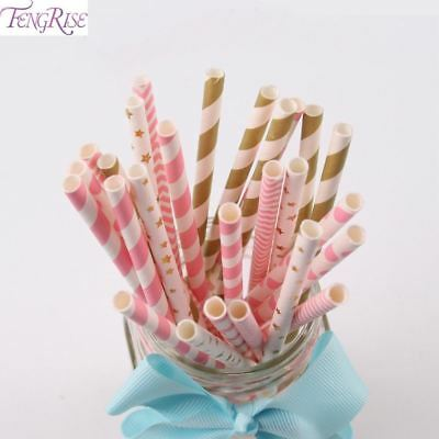 125pcs Paper Drinking Straws Birthday Party Decoration Kids Silver Gold Straw We