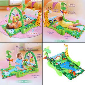 Deluxe Rainforest Lullaby Baby Playmat Gym Activity Toy Play Mat Crawl Soft Mat