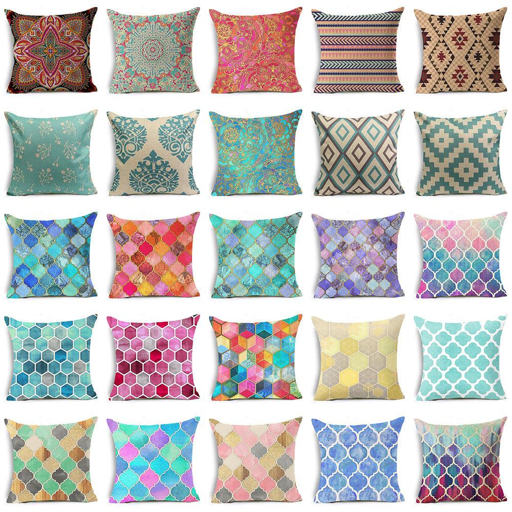 Bohemian throw Pillows case for Sofa official Square Cushion