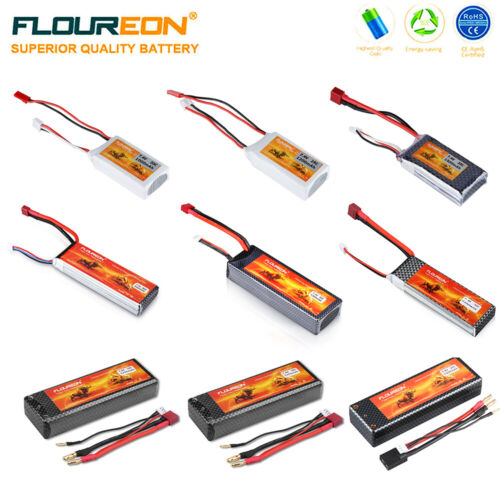 Floureon 7.4V 2S Lipo RC Battery 800mAh to 5200mAh for RC He