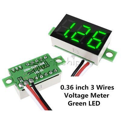 Green 0.36 Inch Dc 0-30v Led Panel Voltage Meter 3-digital Led Voltmeter 3 Wires