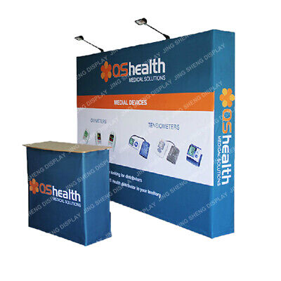 10ft Pop Up Stand Back Wall Trade Show Display Booth With Custom Graphic Print
