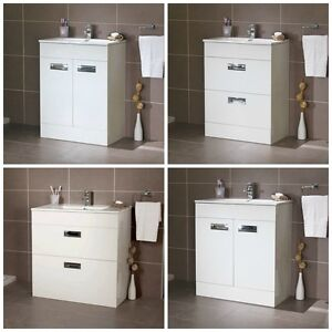 gloss white compact cloakroom freestanding basin vanity unit storage
