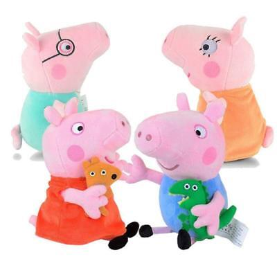 "4Pcs Peppa Pig Family Stuffed Animal Toy DADDY MOMMY 12"" Children 8"" Plush Set"