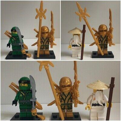 Lego Ninjago Style Minifigures - Gold Lloyd, Green Ninja, Sensei Wu - Choose Set
