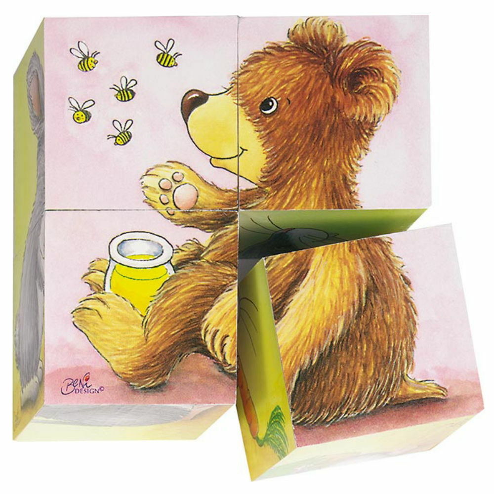 goki Würfelpuzzle Tierkinder 57056 - Holzspielzeug Puzzle 4 Teile