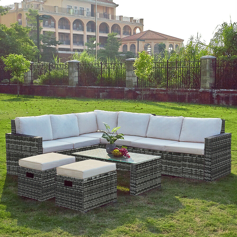 Garden Furniture - Outdoor 8 Seaters Rattan with Table Dining Furniture Set Corner Sofa Garden UK