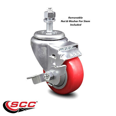 Poly Swvl Threaded Stem Caster W3 Red Wheel And 12 Stemtop Lock Brake