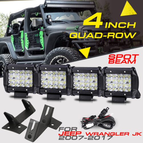 "4X 4"" 240W SPOT QUAD-ROW CREE LED Light Bar Pods Mount Bracket For Jeep JK 07-17"