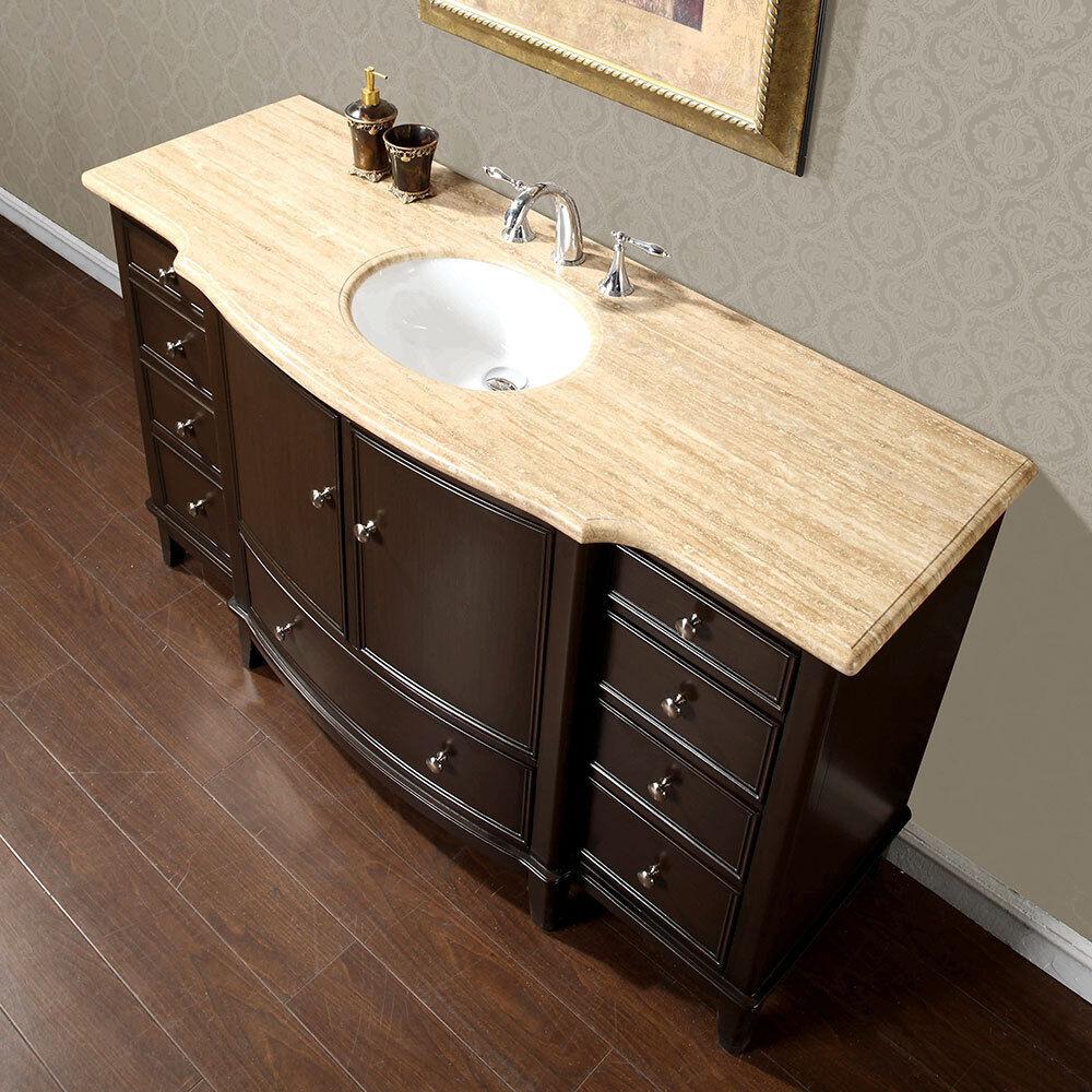 60 Inch Travertine Stone Counter Top Bathroom Single Sink Vanity