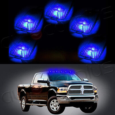 5x Cab Marker Running Light Smoke Lens+5x168 Blue 5050 LED Lights For Chevy GMC