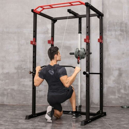 Power Cage Pullup Squat Rack Lifting 1000Lbs Adjustable Capacity Home Fitness
