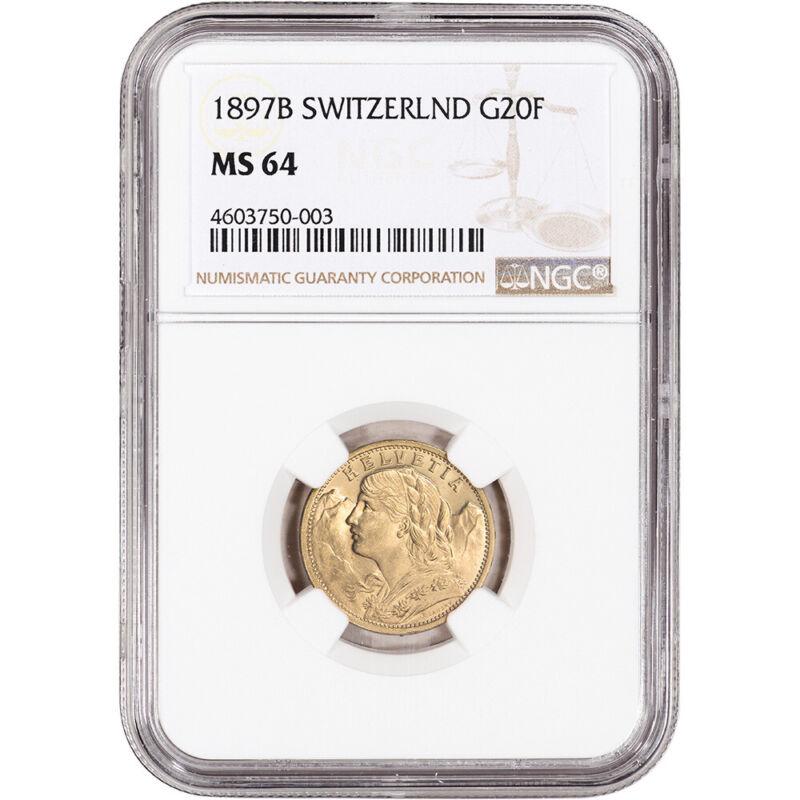 1897 B Switzerland Gold 20 Francs - NGC MS64