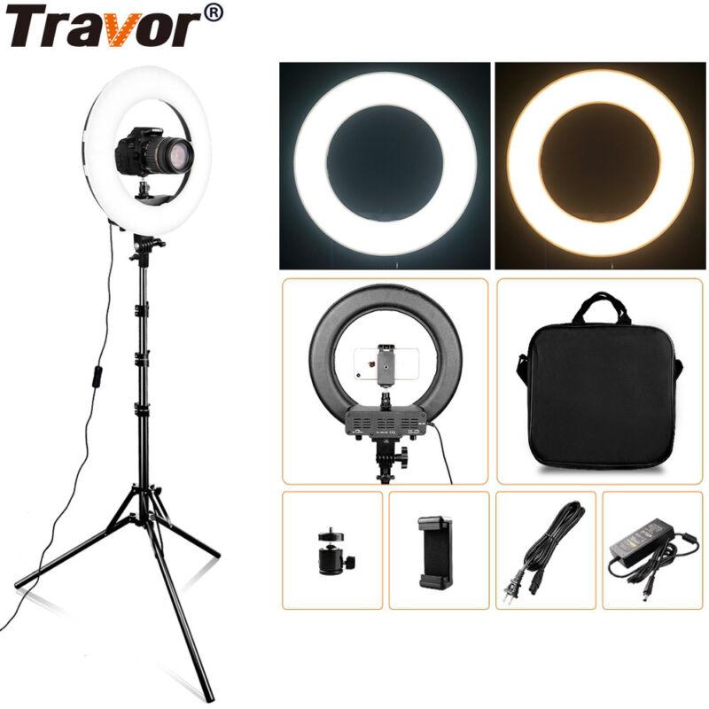 "Travor Photo Studio 14"" Outer Dimmable Bi-color SMD LED Ring Light Lighting Kit"